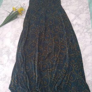LulaRue Turquois and mustard maxi skirt size S